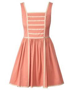Cotton Blend Sleeveless Dress Solid Pink