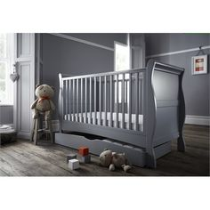 Bailey 2 Piece Soft Grey (Cot Bed and Under Drawer)
