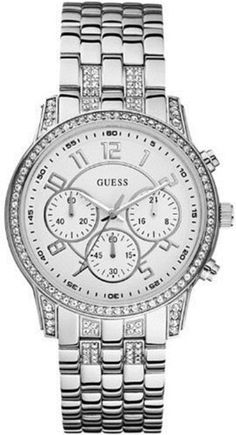 GUESS Sporty and Feminine Watch - Silver GUESS. $157.50. 10 year warranty. Women's trends. Silver-tone bracelet. White dial. Chronograph