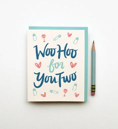 WooHoo (Baby Version) for You Two card congratulations new boy girl illustration card vintage cute calligraphy chic typography blue pink on Etsy, $4.50