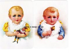 V61 CUTE KIDS swap playing cards MINT COND little babies blue eyes  *LAST PAIR