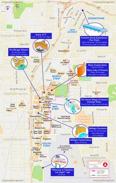 Vegas Strip and Downtown Map Las Vegas Blvd Las Vegas Nevada