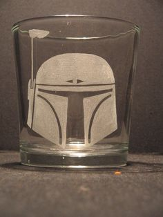 """Star Wars Boba Fett helmet inspired whiskey glass Engraved/Etched Glass """"PICK YOUR STYLE"""""""
