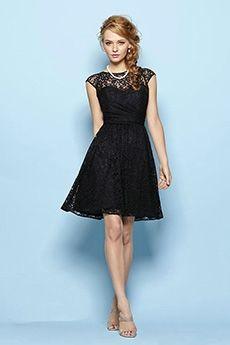 a84e5353cad7d A-Line Princess Bateau Knee-length Lace Prom Dress Short Lace Bridesmaid  Dresses