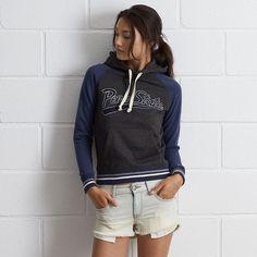 Tailgate PSU Popover Hoodie (€63) ❤ liked on Polyvore featuring tops, hoodies, blue, slim hoodie, raglan hoodie, hooded sweatshirt, striped hoodies and sweatshirt hoodies