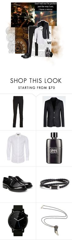 """""""'clever as the devil, and twice as...'"""" by mars-phoenix ❤ liked on Polyvore featuring ...Lost, Alexander McQueen, Emporio Armani, Canali, Gucci, Raf Simons, Tateossian, Motorola and Manuel Bozzi"""