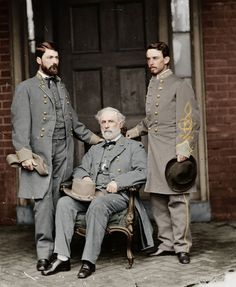 A colorized photo of Robert E. Lee, his son Custis, and his aide Walter H. Taylor