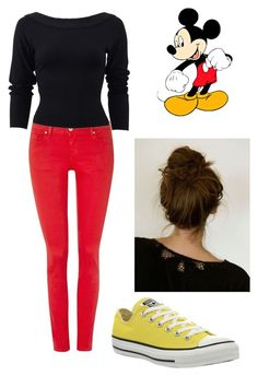 """""""Mickey Mouse"""" by meggykl-percy-jackson ❤ liked on Polyvore featuring Salsa, Donna Karan and Converse"""
