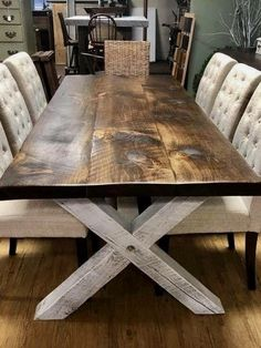 Picnic Table Style Dining Room Table - Picnic Table Style Dining Room Table , Square Baluster Table In Farmhouse Style Kitchen with X Back Farmhouse Kitchen Tables, Farmhouse Furniture, Dining Room Furniture, Dining Room Table, Rustic Furniture, Home Furniture, Furniture Design, Farmhouse Decor, Dining Rooms