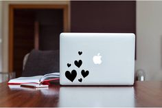 Vinyl Decal Set of 6 Hearts Large Medium Small Hearts
