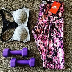 """Nike Leg A See AOP Leggings These super stretchy workout pants have a cool pink, black, and white abstract graffiti print. Tight fit throughout leg; 28"""" inseam. Check my closet for other Nike items! Just Do It! Firm price unless bundled. Nike Pants Leggings"""