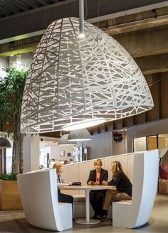 Cocoon pendants for AstraZeneca measuring 2.1m tall and 2.9 in diameter. Together with the seating solution, they form the distinctive cocoon units that provide informal meeting places which facilitate and promote the exchange of knowledge and ideas between colleagues.  Interior design: SpaceInvader