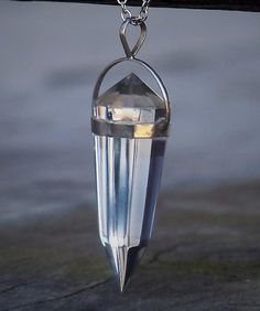 """CRYSTAL VISIONS AAA Quality Vogel Cut Clear Quartz Crystal Sterling Silver Pendulum Pendant Necklace, 40-45 mm Gemstone, 24"""" Chain by ArtisanWitchcrafts, $54.95"""