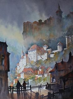 Towers of Rocamadour, France, by Thomas Schaller Watercolor City, Watercolor Artwork, Watercolor Artists, Watercolor Techniques, Watercolor Landscape, Landscape Paintings, Watercolor Portraits, Abstract Paintings, Watercolor Flowers