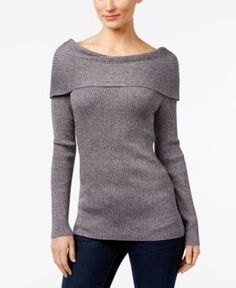 Inc International Concepts Boat-Neck Sweater, Only at Macy's - Silver XXL