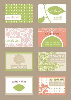 お花や葉っぱをモチーフにして、かわいいレトロ調デザインに・・・ 配色は薄く、ナチュラルでとってもさわやか! アレンジしてポストカードなど名刺以外でも使いたいですね Set of……