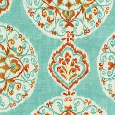 Coral and Aqua Medallion Fabric by the Yard I Carousel Designs.  This exquisite Linen and Rayon blend fabric features fabulous shades of coral and aqua. The modern medallion design makes it a real standout.