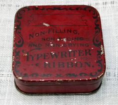 Vintage Square Red and Black Typewriter Ribbon Tin Unknown Manufacturer by CanemahStudios on Etsy