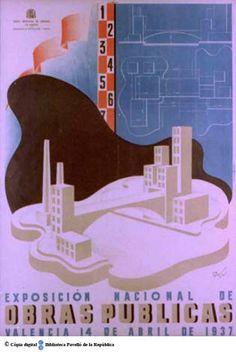 Exposición nacional de obras públicas : Valencia 14 de abril de 1937 :: Cartells del Pavelló de la República (Universitat de Barcelona)