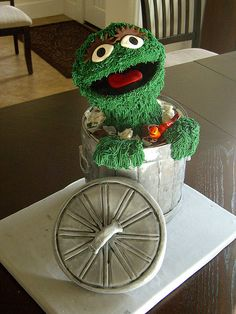 "Oscar the Grouch Cake ... a gorgeous cake via ""Crazy Cake Lady""."