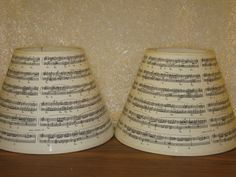 "Two used lamp shades sheet music decoration 11"" tall 