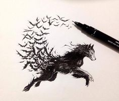 Would love to get this as a tattoo, this is one of my favorite wolf drawings. You could even go one step further and draw the wolf transforming into vampire 😮 Wolf Tattoos, Tattoos Lobo, Body Art Tattoos, New Tattoos, Wolf Tattoo Design, Tribal Tattoo Designs, Trendy Tattoos, Small Tattoos, Britney Spears Tattoos
