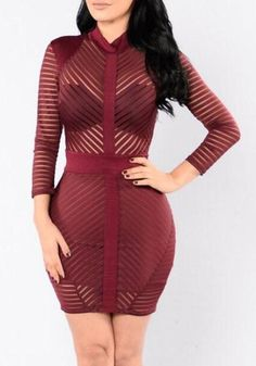 Burgundy Patchwork See-through Bodycon Striped Band Collar V-neck Party Mini Dress