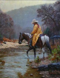 Nature's Poetic Harmony by Mark Keathley ~ cowboy on horseback crossing stream