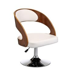 Bar Chair White Leather Effect Walnut Wood