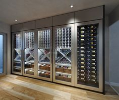 Vintage Wine Custom Contemporary Wine Cellar Display with modern design installed in London to display a vintage wine collection with climate control. Wine Cellar Modern, Glass Wine Cellar, Home Wine Cellars, Wine Cellar Design, Modern Wine Rack, Wine Design, Wine Wall Decor, Bar A Vin, Wine Display