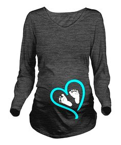Charcoal & Blue Baby Feet Maternity V-Neck Tee - Women & Plus