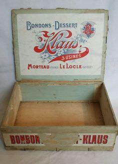 Ancienne caisse ou boîte en bois Bonbons Chocolat KLAUS à Morteau & Le Locle