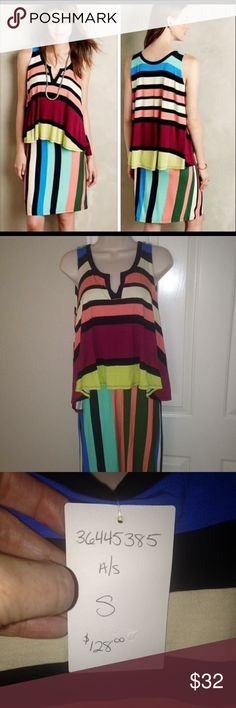 Anthropologie - Maeve - Davina dress - SZ S - NWT Anthropologie - Maeve - Layered striped Davina dress - SZ S - super cute dress, top layer makes it really forgiving - just too small for me. NWT Anthropologie Dresses Midi