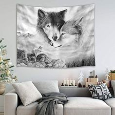 HVEST Wolf Tapestry Wild Predator Wolves Standing on Cliff Wall Hanging Animal Tapestries for Bedroom Living Room Dorm Wall W x 40 H inches >>> Details can be found by clicking on the image. (This is an affiliate link) Space Tapestry, Tapestry Bedroom, Wall Tapestry, Wolf Poster, Hipster Home Decor, Wolf Canvas, Home Decor Paintings, Animal Decor, House Painting