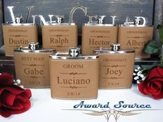 Personalized Groomsmen Gift, 1 Leather Engraved Flask, Groomsmen Flasks by AwardSourceLLC on Etsy https://www.etsy.com/listing/162327755/personalized-groomsmen-gift-1-leather