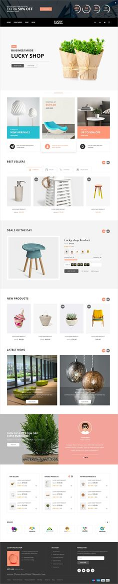 Lucky is a modern, clean and professional design #PSD template for #webdev stunning #eCommerce websites with 14 homepage layouts and 25+ organized PSD pages download now➩ https://themeforest.net/item/lucky-psd-template/19443105?ref=Datasata