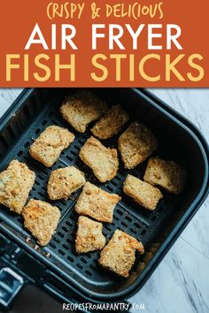 Easy Air Fryer Fish Sticks have only 5 ingredients and cook to crispy, crunchy perfection in less than 15 minutes. Goodbye, soggy frozen fish sticks, and hello tender, flaky homemade fish sticks with golden breadcrumb coating, cod, tilapia or other fish. This kid-friendly meal is perfect for a busy weeknight and can be served with your familys favorite dipping sauce. Click through to get this awesome Air Fryer Fish Sticks recipe. #airfryer #airfried #fishsticks #homemadefishsticks… Air Fryer Recipes Vegan, Air Fry Recipes, Air Fryer Dinner Recipes, Air Fryer Healthy, Quick Recipes, Fish Recipes, Appetizer Recipes, Air Fried Fish, Deep Fried Fish