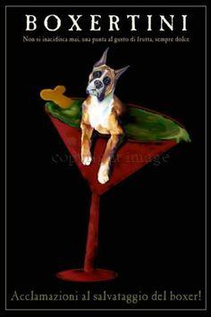 BLACK POODLE Hot Tub w// Martini Signed Dog Art PRINT of Original Painting VERN
