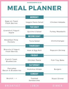 Weekly family meal plan filled with easy family meal ideas and easy recipes