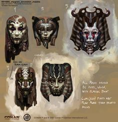 Stygian Ancestor Masks concept art from the video game Age of Conan: Unchained by Torstein Nordstrand