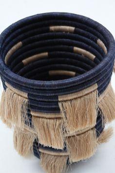 // Beklina African Eyelash Fringe Basket Bin