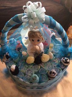 Basket diaper cake for boy