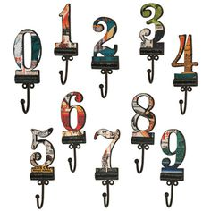 Idea: row of hooks - choose the numbers that form your anniversary date.   10 Piece Number Wall Hook Set at Joss & Main