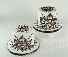 mehndi inspired black and white mini cake decorating design ideas  #cake…