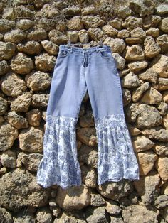 Upcycled Jeans Womens Clothing Bell Bottom Jeans by NuLifeClothing, $50.00
