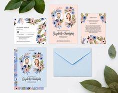 Custom Illustrated Wedding Guest Book di kathrynselbert su Etsy