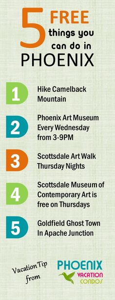 5 FREE THINGS you can do in Phoenix, Arizona.  phoenixvacationcondos.com