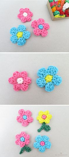 rainbow loom flower charms, flowers with 5 and 6 petals
