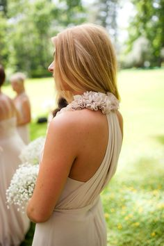 """beige bridesmaid dress with pretty silhouette and ruffled neckline... these are only $100-150 <3 Bari Jay """"226"""""""