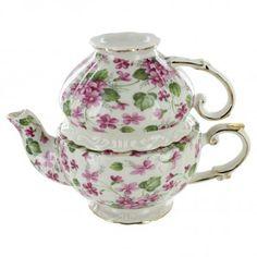 Pink Violet Porcelain - Tea for One